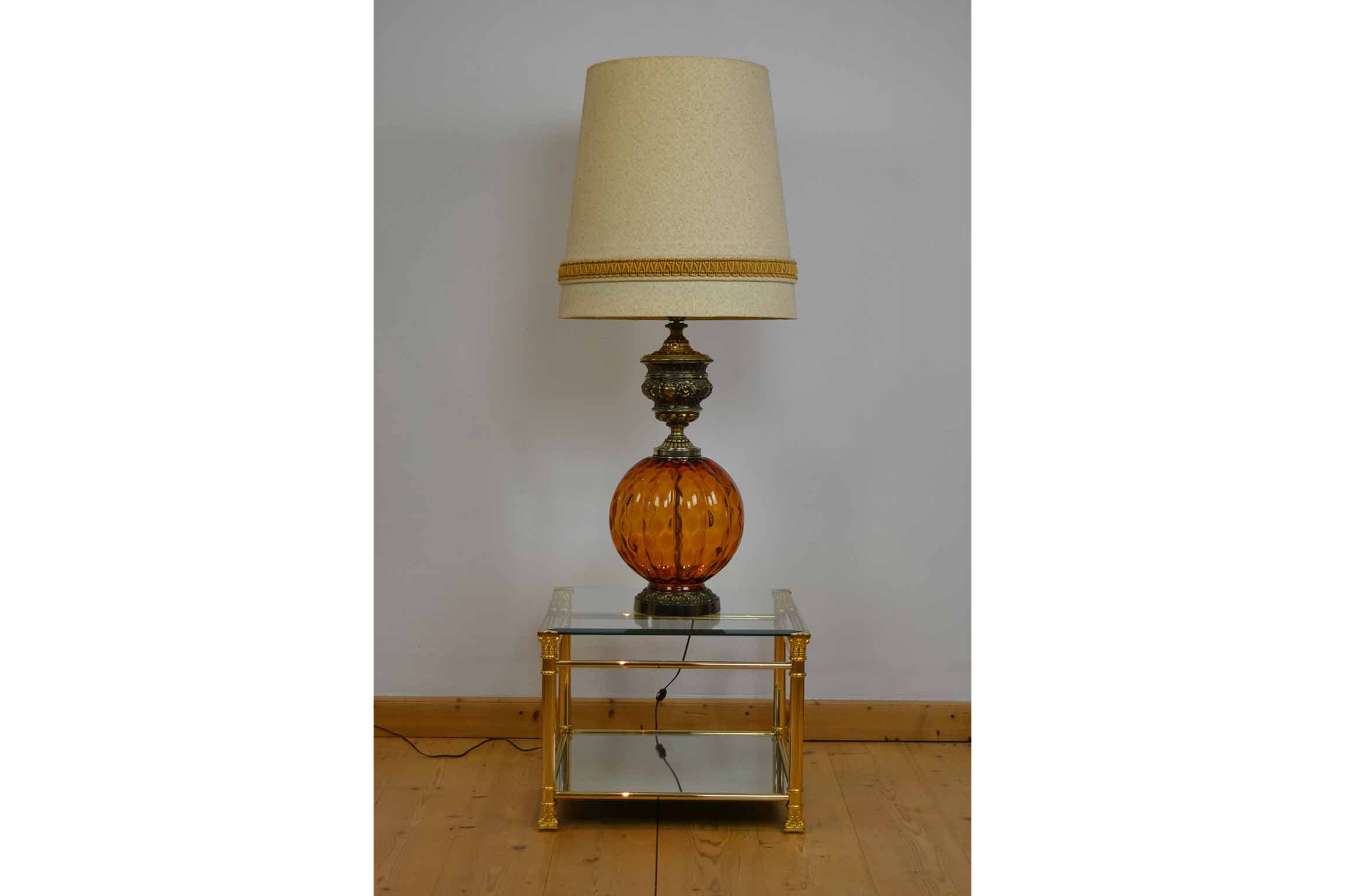 1960s Bohemian Style Amber Art Glass Floor Lamp Or Large Table Lamp Retro Station
