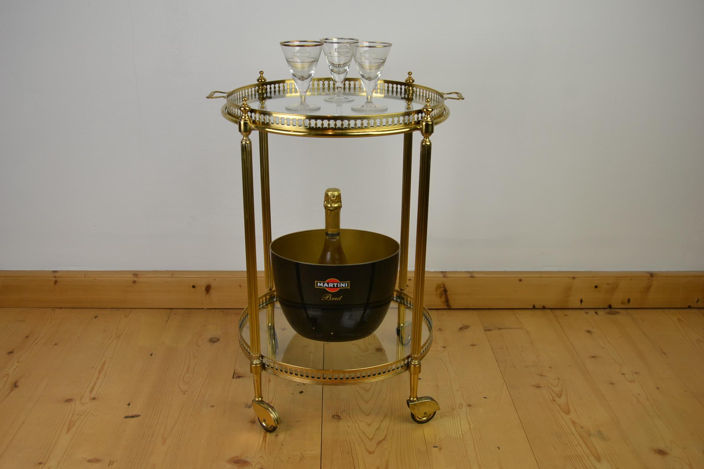 Round Brass Bar Cart Italy Mid Century Retro Station